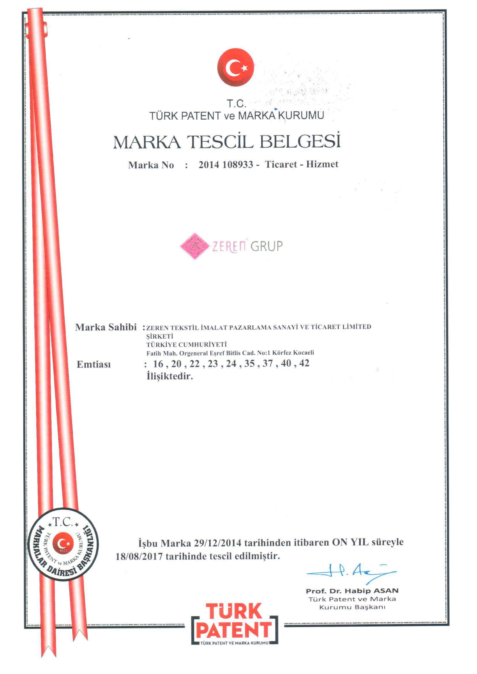 Zeren Filtre Marka Tescil Belgesi 2017